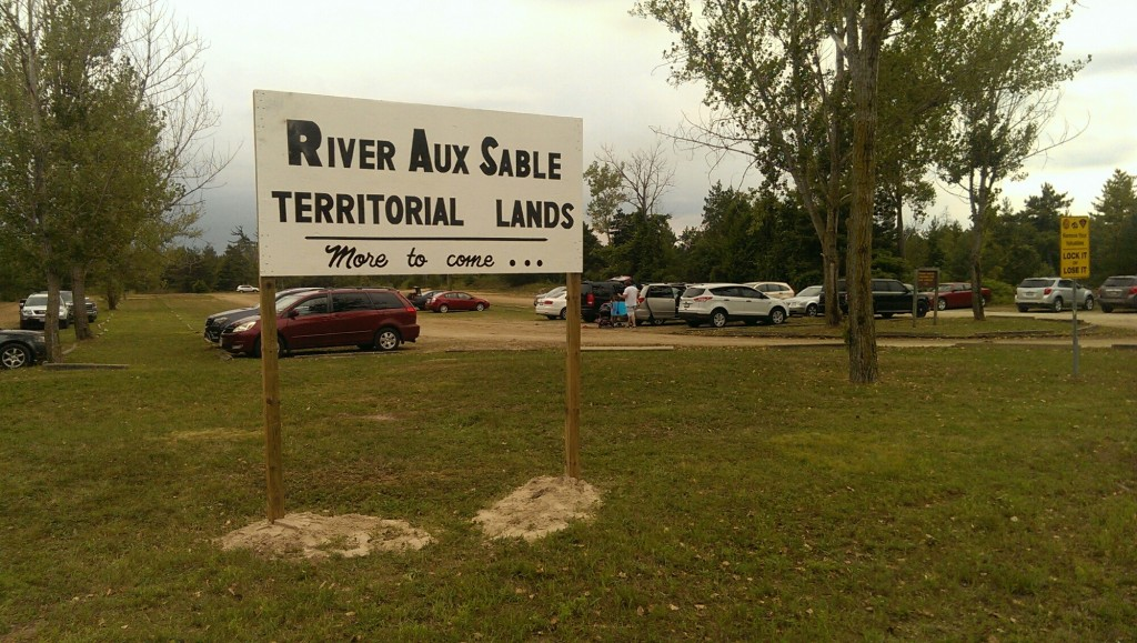 Land-claim signage was posted at a provincially-owned Ipperwash beach parking lot on East Parkway Drive last weekend. The Municipality of Lambton Shores has notified the Ministry of Natural Resources & Forestry, as well as the Ministry of Aboriginal Affairs. (PHOTO COURTESY OF CENTRE IPPERWASH COMMUNITY ASSOCIATION)